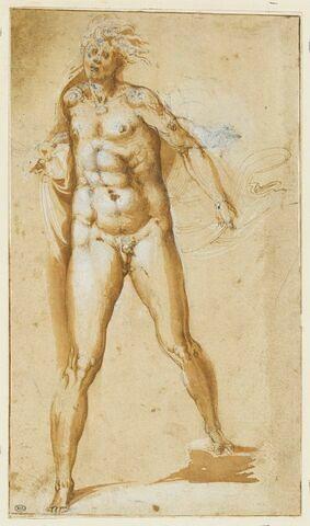 Un homme nu, debout, vu de face, s'élançant vers l'avant