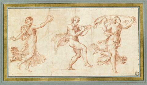 Faune nu jouant de la double flûte entre deux bacchantes dansant