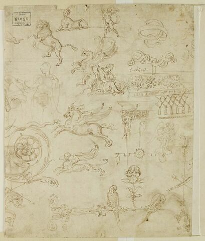 Etudes de figures, d'animaux vrais ou fantastiques et de motifs ornementaux de grotesques