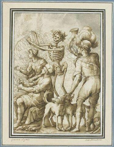La Mort enveloppant des chasseurs dans des filets