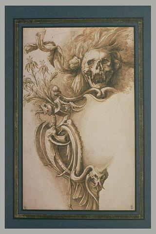 Moitié gauche d'un cartouche avec symboles macabres