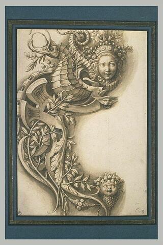 Moitié gauche d'un cartouche avec hippocampe, masques et motifs végétaux