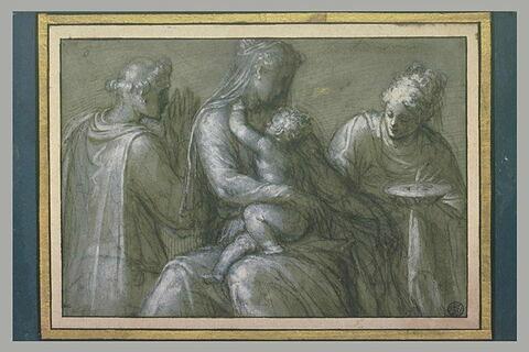 La Vierge et l'Enfant Jésus entourés de sainte Lucie et d'un saint diacre