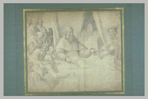 Le pape Clément VII et l'empereur Charles Quint entourés de savants