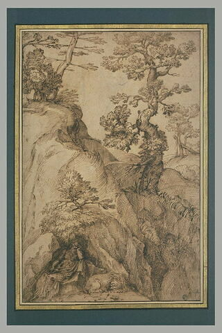 Paysage avec saint Jérôme dans une grotte