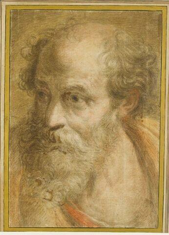 Tête d'homme barbu, regardant vers la gauche