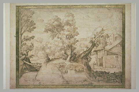 Paysage avec un tertre surmonté d'arbres, près d'une église et d'une maison