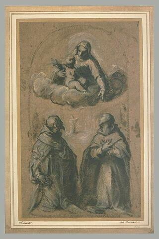La Vierge et l'Enfant adorés par saint Dominique et saint Antoine de Padoue