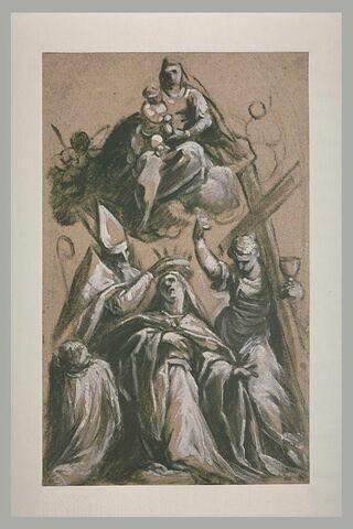 Sainte couronnée par un évêque avec la Religion et la Vierge à l'Enfant