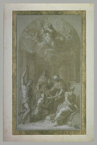 Le Christ Rédempteur avec saints Jean Baptiste, Cosme, Damien et Zacharie