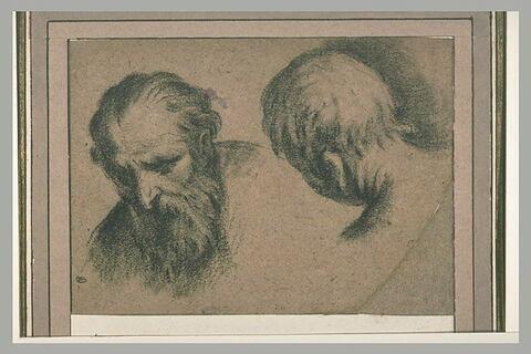 Tête de vieillard, vue de trois quarts, un peu penchée, et une tête d'homme