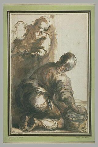 Homme accroupi sur un vase se retournant vers un vieillard et tête de femme