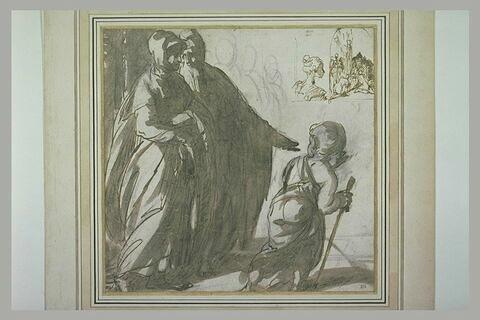 Deux figures drapées, un enfant ; profil de femme ; Adoration