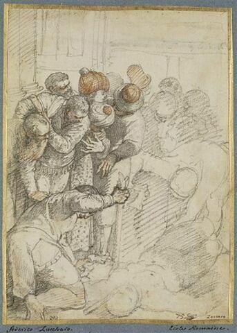 Homme étendu, entouré de treize personnes : figures du Miracle de l'esclave