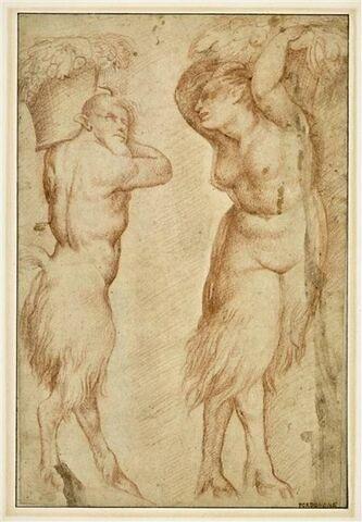 Satyre et satyresse debout, portant l'un et l'autre une corbeille de fruits