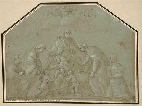 Figures en adoration devant l'Enfant Jésus sur les genoux de la Vierge