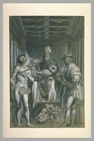 Saint Gottardo entre saint Sébastien et saint Roch, et deux anges musiciens