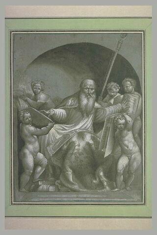Saint Augustin, assis, les mains posées sur des livres