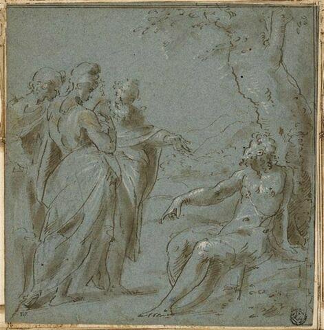 Trois figures s'entretenant avec un vieillard assis près d'un arbre