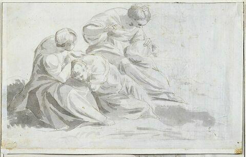 Trois femmes assises, l'une repose la tête sur les genoux de celle de gauche