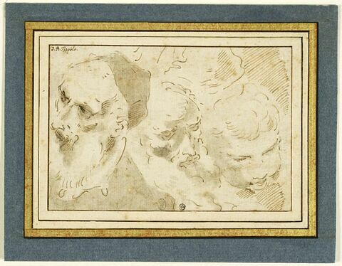 Deux têtes d'hommes barbus, et une tête d'enfant