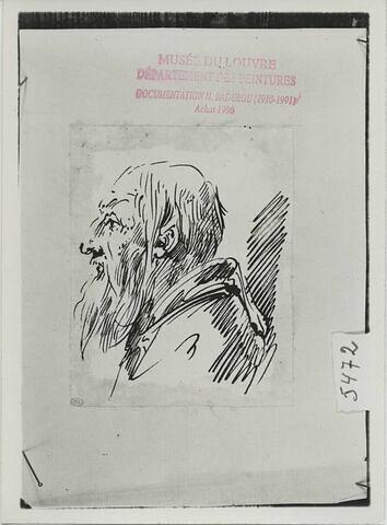 Etude du buste d'un vieillard, tourné vers la gauche