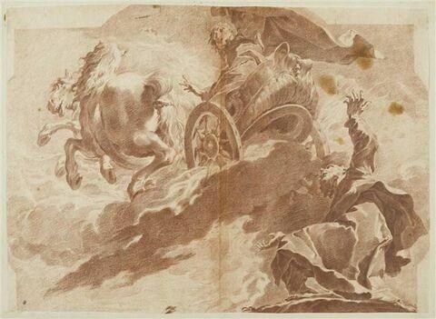 Elie monte au ciel dans un char de feu et laisse tomber son manteau à Elisée