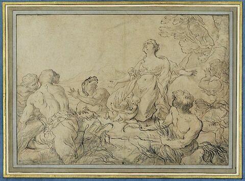Léto accouchant des jumeaux Apollon et Artémis sur l'île de Délos