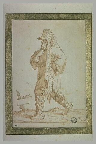 Homme en costume oriental, portant une tunique en peau de bête