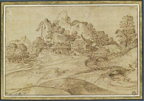 Paysage montagneux avec un hameau et deux ponts
