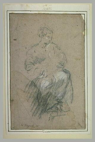 Etude d'une femme assise tenant un enfant dans les bras