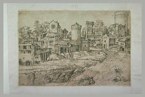 Vue d'une bourgade fortifiée traversée par un ru