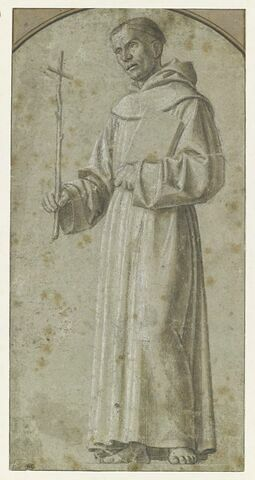 Moine tenant une croix et un livre : saint François