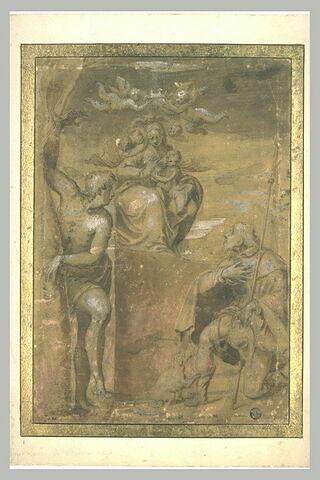 Vierge à l'Enfant couronnée par des anges avec saint Sébastien et saint Roch
