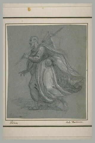Homme portant un baluchon, marchant vers la gauche