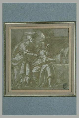 Saint Pierre debout et saint Matthieu assis devant une table