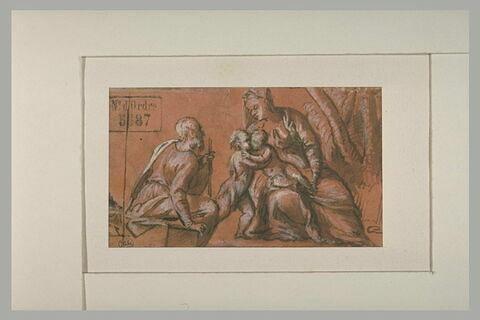 Sainte Famille avec le petit saint Jean embrassant l'Enfant