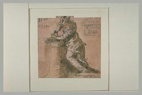 Femme puisant de l'eau dans un puits
