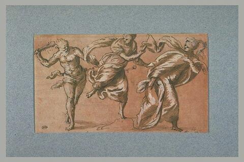Un homme (Hercule?), armé d'une massue, poursuit deux jeunes femmes