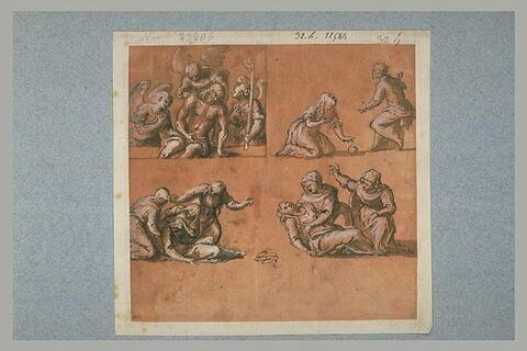 Christ mort soutenu par les anges, études d'un Evanouissement de la Vierge