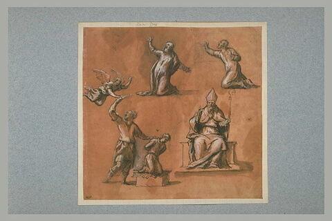 Le sacrifice d'Abraham, un évêque et deux figures à genoux