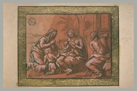 La Sainte Famille avec le petit saint Jean et l'Agneau, et sainte Elisabeth