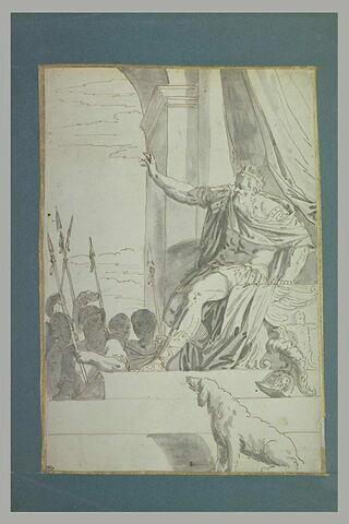 Un roi assis sur un trône étend le bras droit vers un groupe de guerriers