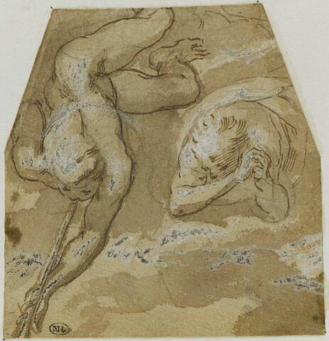 Deux anges dont un jouant de la trompette