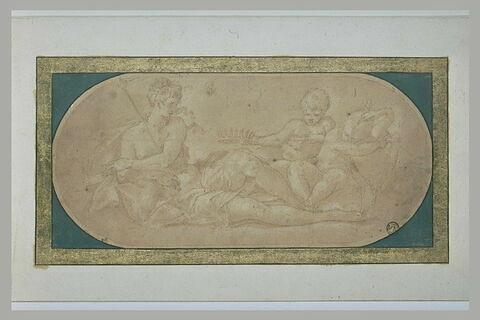 Junon à demi allongée, avec deux enfants et un paon