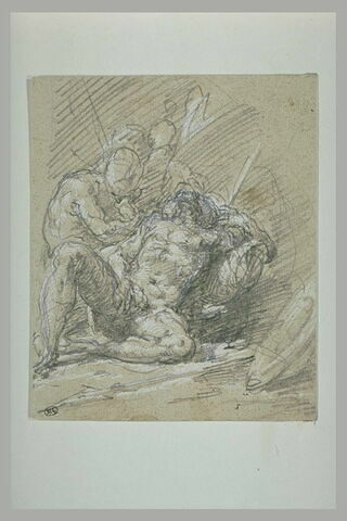 Guerrier nu, à demi allongé, mourant, veillé par une figure