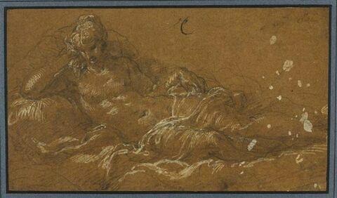 Femme demi nue, étendue, appuyée sur son bras droit