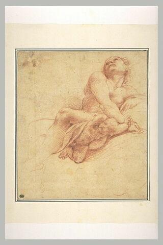 Homme nu, assis, la tête renversée en arrière, avec un putto