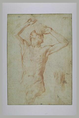 Jeune homme nu assis, jouant de la flûte de Pan, et étude d'un genou