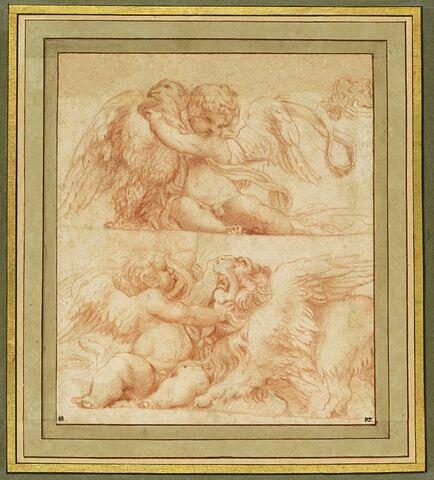 Enfant ailé assis, tenant un aigle ; enfant ailé, assis, tenant un lion ailé